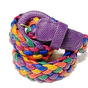 Vintage multicolored braided leather belt 42 inch
